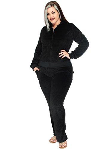 Plus Size Velour Suit - Simplicity Ladies Plus Size Velour Hoodie & Sweatpant Track Suit, Black, 12W