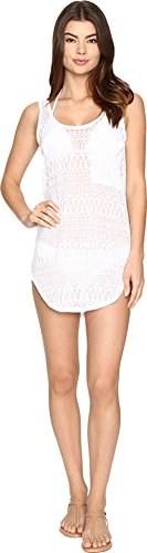 Body Glove Women's Lexi Scoop Neck Cover Up Dress with Racerback, White, Large