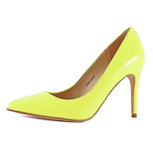 Women's Classic Fashion Stiletto Pointed Toe Sexy High Heel Dress Pump Shoes (6.5 M US, Neon Yellow)