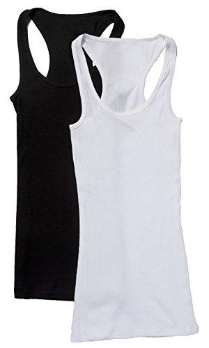 (2 Pack Zenana Women's Ribbed Racerback Tank Tops Med Black, White)