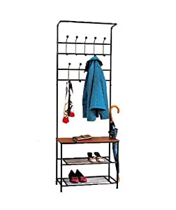 Metal Entryway Coat Rack With Storage Bench