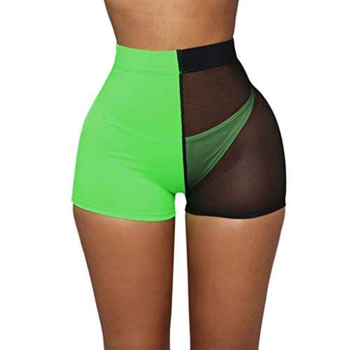 Alangbudu Women Sport Three Piece Racerback Crop Tank Top Swimsuit with High Waisted Mesh Contrast Color Boyshort Bottom Green