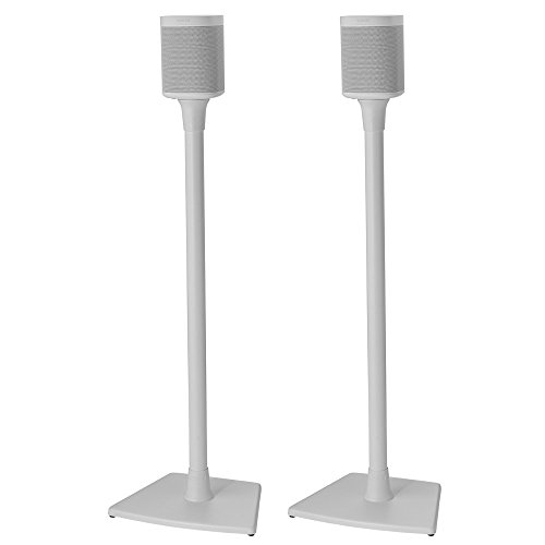 Sanus Wireless Sonos Speaker Stand for Sonos One, Play:1, Play:3 - Audio-Enhancing Design with Built-in Cable Management - Pair (White) - WSS22-W1