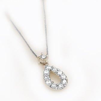 4562c0a81485 [ラグジュエリー][Lugejewelry]プラチナ 0.3ctペアシェイプダイヤモンドペンダントネックレス スウィング