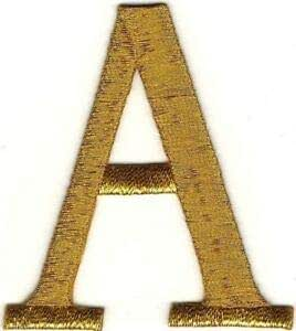 """1/"""" Tall Bright Metallic Gold Monogram Block Number 4 Embroidery Patch"""