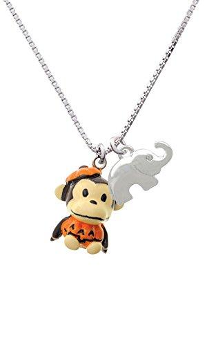 [Resin Monkey in Pumpkin Costume Elephant Necklace, 18