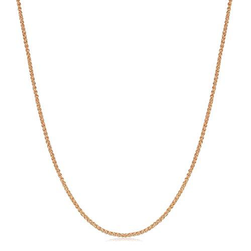 Kooljewelry 18k Rose Gold 0.8 mm Round Wheat Chain Necklace (18 inch)