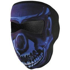 Zan Headgear Blue Chrome Skull Neoprene Cold Weather Full Face Mask