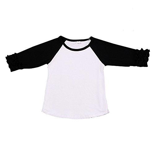 (Kaiya Angel Toddler/Little Girl's Icing Ruffle Shirts Raglan Shirts 2-6 Years)