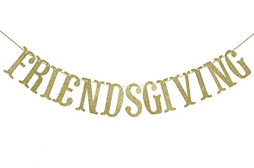 Friendsgiving Gold Glitter Banner, Thanksgiving Friends Party Decoration Photo Props Supplies