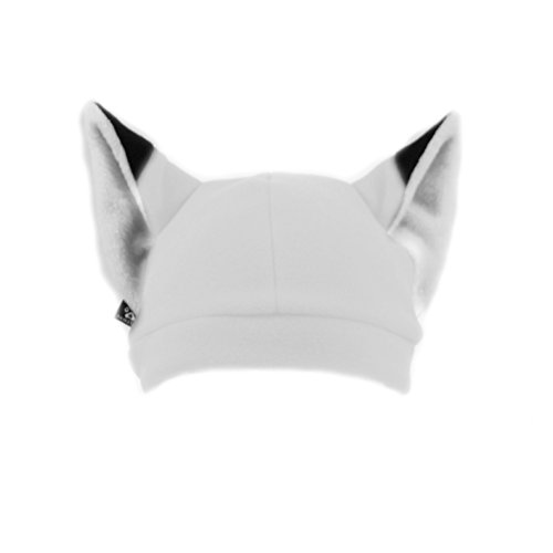 Pawstar Fleece Fox Ears Beanie Hat - Arctic White