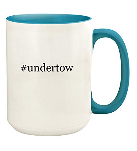 #undertow - 15oz Hashtag Ceramic Colored Handle and Inside Coffee Mug Cup, Light Blue
