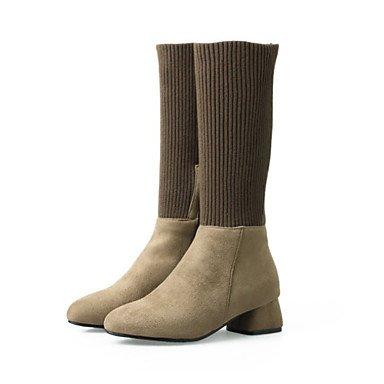 Desy Damen Schuhe Wildleder Satin Stretch Herbst Winter Bequeme innovative Stiefel Stiefeletten quadratisch Rundspitze Stiefel Hälfte khaki