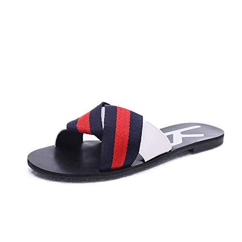 Ruban mop Confort Plage 36 Été 3 Yiwuhu Chaussures Croix Taille Rouge Sauvage des Plat Rouge Couleur de Porter 2 Sandales EU 1qEIwEpn
