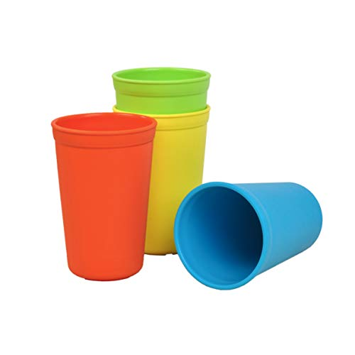 (Re-Play Made in The USA 4pk Drinking Cups for Baby and Toddler - Red, Sky Blue, Yellow, Lime (Preschool+))
