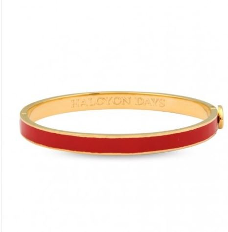 Halcyon Days, Women's Thin Red Enamel & 18 ct Gold, Hinged Bangle, 6 mm, Gift Box & Pouch, One Size Fits All