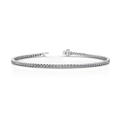 TriJewels AGS Certified Round Diamond Tennis Bracelet (VS2-SI1-Clarity, G-H-Color) 1.30 ctw 14K White Gold ()
