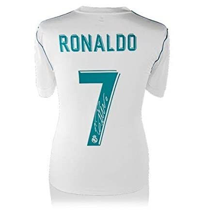 14c27c2da43 Image Unavailable. Image not available for. Color  Cristiano Ronaldo  Autographed Signed Memorabilia Real Madrid 2017-18 Home Jersey Shirt Icons