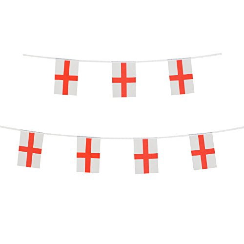 English Rope Satin - LoveVC England Flag, 100 Feet English Flag National Country World Pennant Banner Flags,International Party Decorations for World Cup,Olympics,School Sports Events