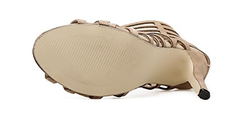 Mouth Tacón 35 Zapatos Cutout Correas De Fish Rome Cruzadas Sandals Nvxie Sexy Mujer Beige Alto 39 Women's 4Yx1q