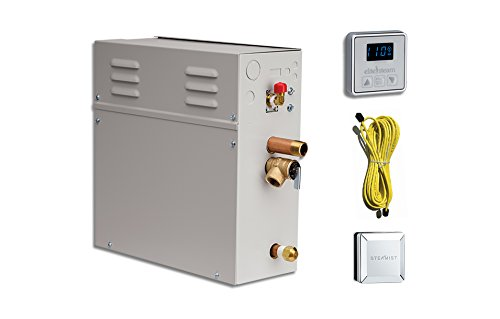 EliteSteam 10 KiloWatt Luxury Home Steam Shower System (Steam Shower Generator, Control, Steam Head, and Cable) (Brushed Nickel Inside Control)
