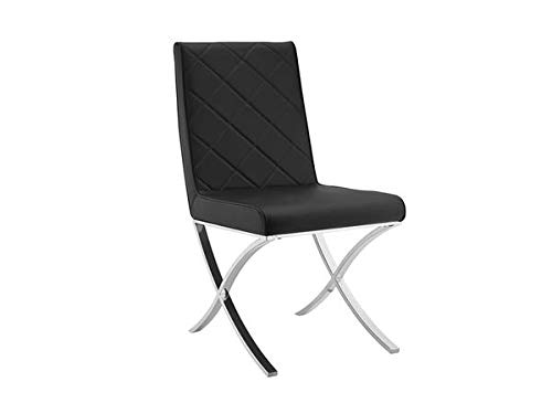 Black Eco-Leather Guest or Conference Chair with Criss-Cross Base(Set of 2)