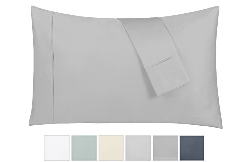 400 Thread Count 100% Cotton Pillow Cases, Light Grey Standard Pillowcase Set of 2, Long - Staple Combed Pure Natural Cotton Pillowcase, Soft & Silky Sateen Weave by California Design Den