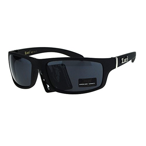 Locs All Black Mad Dog Cholo Rectangular Gangster Biker Sunglasses Matte - Mad Dog Glasses