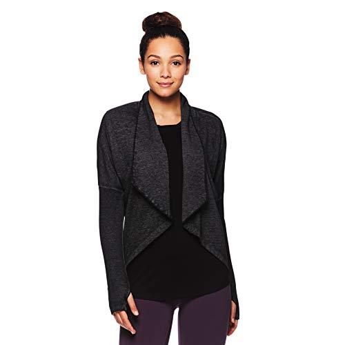 Gaiam Women's Calla Flow Fleece Long Sleeve Yoga Wrap - Black (Tap Shoe), Large