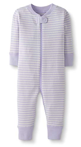 - Moon and Back by Hanna Andersson Baby/Toddler One-Piece Organic Cotton Footless Pajamas, Purple Stripe, 12-18 months