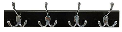Headbourne 8031E 18' Black Hook Rail / Coat Rack with 4 Chrome Triple Hooks