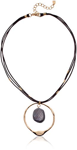 Robert Lee Morris Soho Women's Shell Stone Sculptural Circle Pendant Leather Necklace, Grey Mop, One Size, Grey MOP