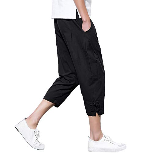 EKLENTSON Mens Linen Capris Shorts Below Knee Classic Long Beach Shorts 3/4 Capri Pants Black ()
