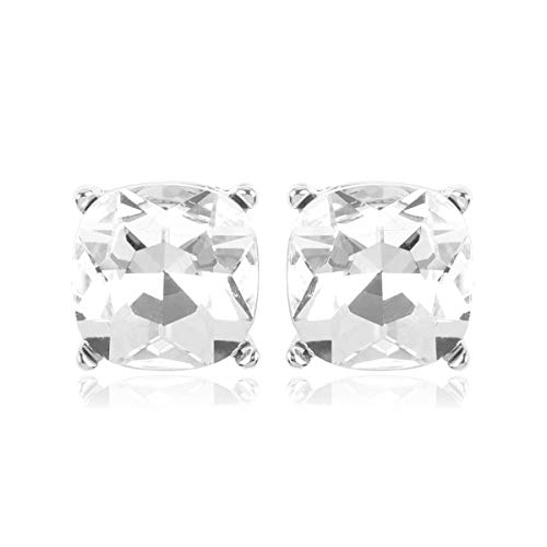 RIAH FASHION Sparkly Square Stud Earrings for Women - Cushion Cut Statement Post Studs Glitter Small Sequin Confetti, Faceted Jewel (Faceted Jewel - Silver Clear)