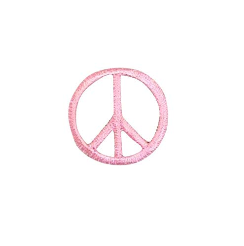 Small Pink Peace Sign Iron on Embroidered Patch