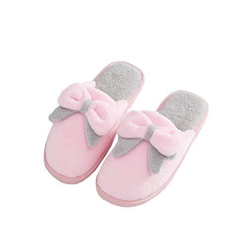 Épais Accueil Pink Au Confort Charmant Femmes L'automne Garder Chaud Papillon Molleton Fond SFHK Hiver Chaussons Noeud Maison Antidérapant Chaussures 1Xqwfa
