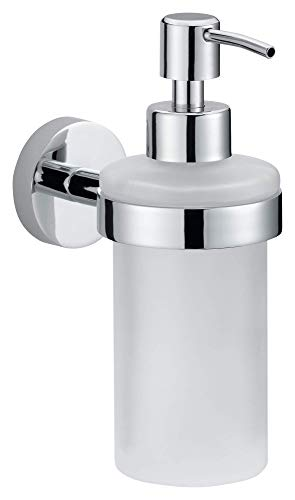 tesa Smooz No Drill, Wall Mounted Bathroom Soap Dispenser, Chrome-Plated Metal, Removable Adhesive Glue Technology