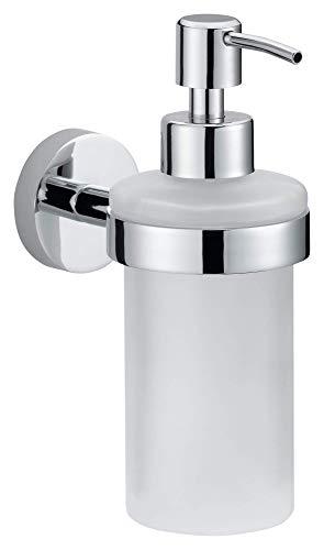 - tesa Smooz No Drill, Wall Mounted Bathroom Soap Dispenser, Chrome-Plated Metal, Removable Adhesive Glue Technology