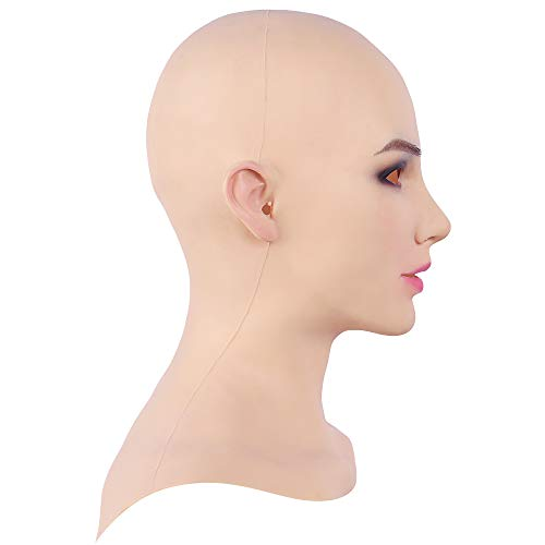 Soft Silicone Realistic Female Head Mask Hand-Made Face for Crossdresser Transgender Halloween Costumes 3G Tan -