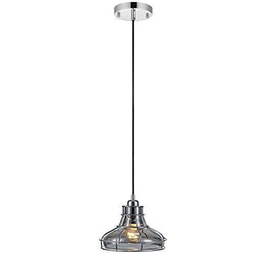 Versanora VN-L00031 Mini Illusione 1-Light Metal Pendant Lamp with Cage-Chrome Finish | Vintage Style | Industrial Design for Modern Kitchens. Living Rooms and Bedroom