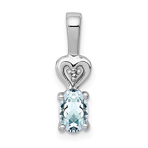 925 Sterling Silver Blue Aquamarine Diamond Pendant Charm Necklace Set Birthstone March Fine Jewelry Gifts For Women For Her