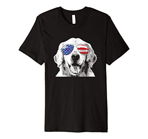 Golden Retriever 4th of july Shirt Patriotic Dog USA Flag Premium T-Shirt