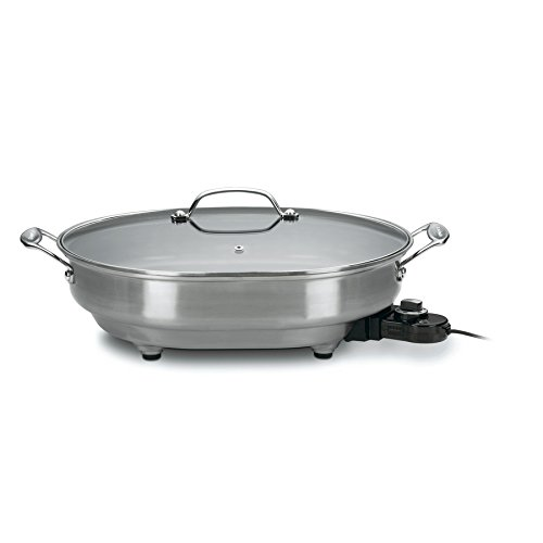 Electric Skillet Stainless Steel with Lid