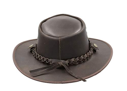 729616a5 Walker and Hawkes - Leather Cowhide Outback Braided Traveler Hat ...
