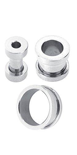Karisma Tunnel oreille Piercing Unisexe acier inoxydable Argent Couleur 316l Fit Screw On–1355–8mm