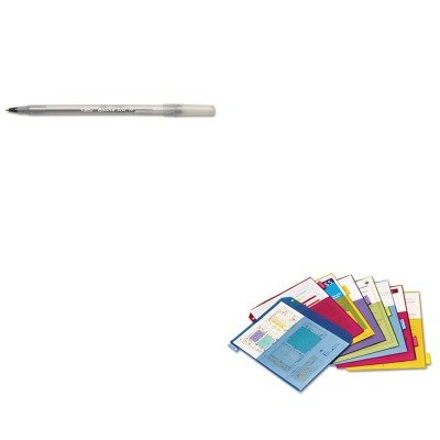 KITBICGSM11BKCRD84004 - Value Kit - Cardinal Poly 2-Pocket Index Dividers (CRD84004) and BIC Round Stic Ballpoint Stick Pen (2 Poly Value Kit)