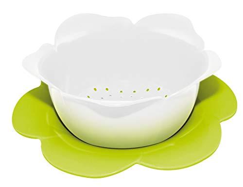Rose Saucer White - zak! 16.5 cm 2-Piece Melamine Rose Colander and Saucer Set,White/ Green by Zak Designs