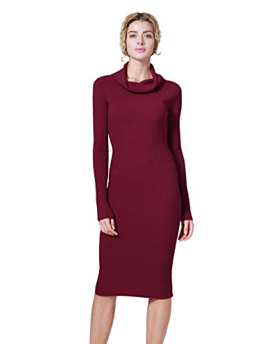 (ninovino Women's Cowl Neck Stretchy Ribbed Long Sleeve Tunic Sweater Dress Red-L)