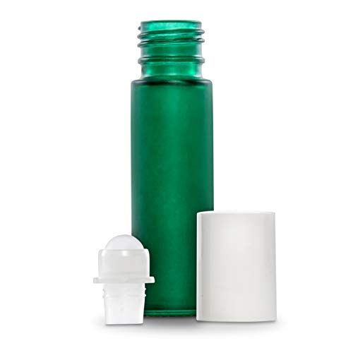 10 ml  Green Frosted Glass Essential Oil Roll On Bottles - P