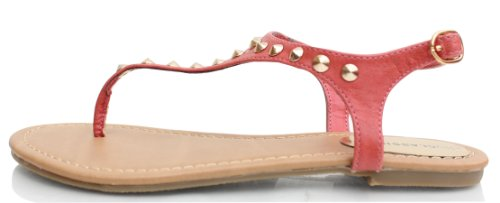 Thong Ankle Strap strap Pink Gold Leatherette Diary Thong T Salmon Studded Sandal 8Yq0xFF